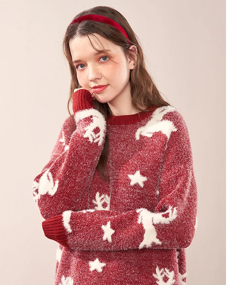 KUOSE Fawn Print Christmas Knitted Red Sweater
