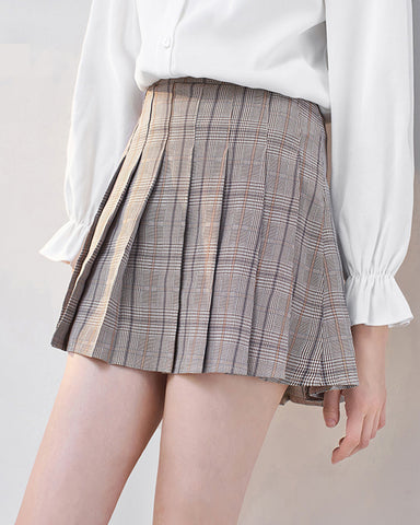 2019 Autumn Winter New Korean version of women's dress student pleated high-waisted antique grain a-shaped skirt
