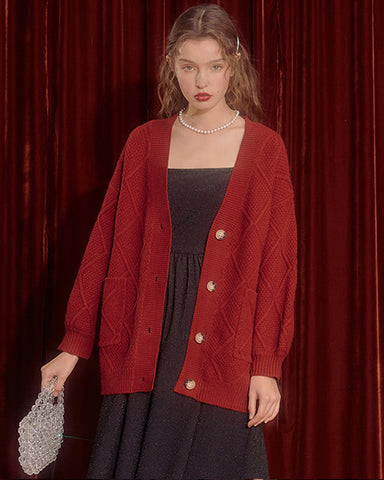 KUOSE Retro Lantern Sleeve Loosed Knitted Cardigan