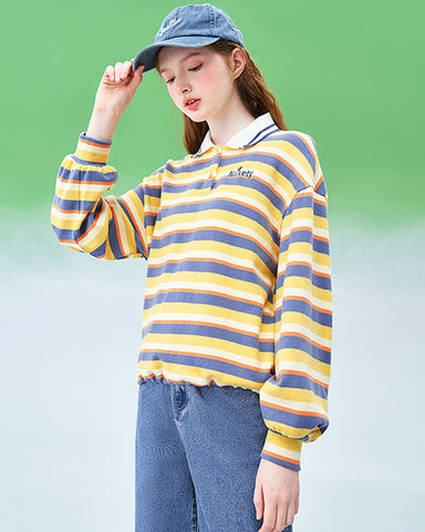2020 spring yellow polo collar striped sweater tide new Korean women's pullover loose top