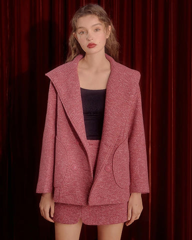 KUOSE Fashion Solid Color Woolen Suit(Coat+Skirt)