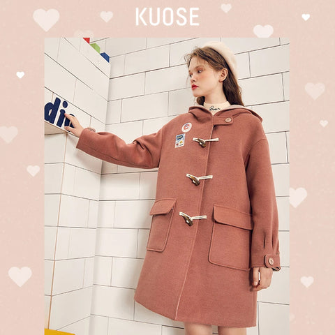 KUOSE Horns Buckle College Style Hooded Woolen Coat
