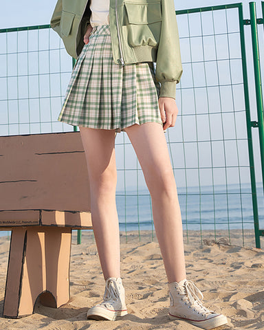 KUOSE Spring Plaid Skirt