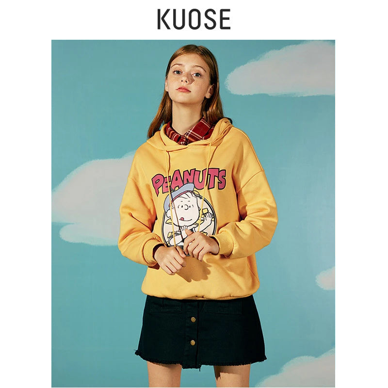 KUOSE Comic Print Hooded Sweatshirt