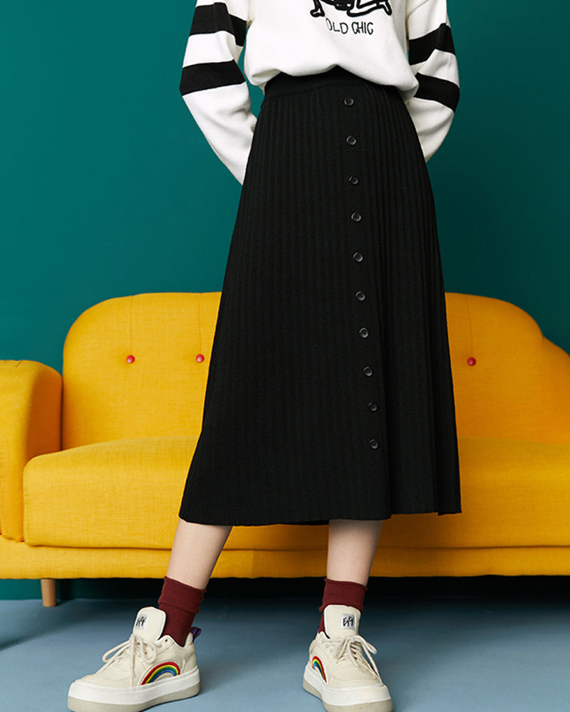 Knitted skirt 2019 fall/winter new retro academic dress high waist long A-line skirt black