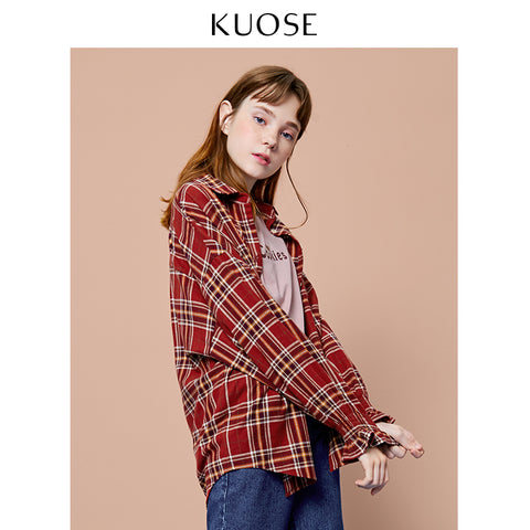 KUOSE Plaid Retro Style Shirt