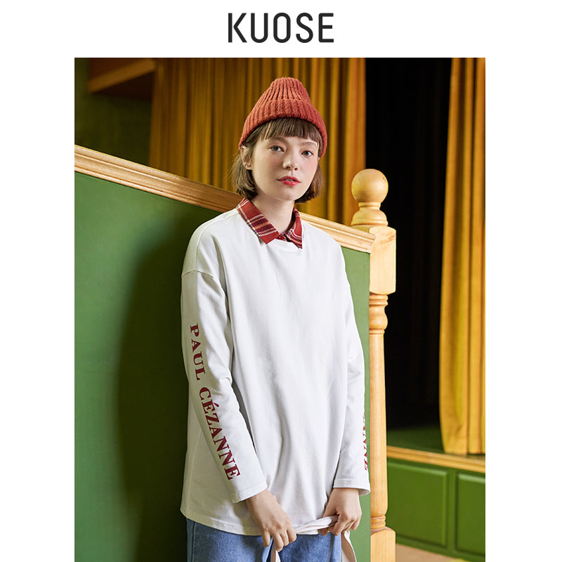 KUOSE Printed Loose Casual T-shirt