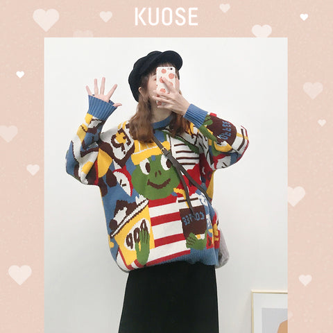 KUOSE Loose Jacquard Sweater