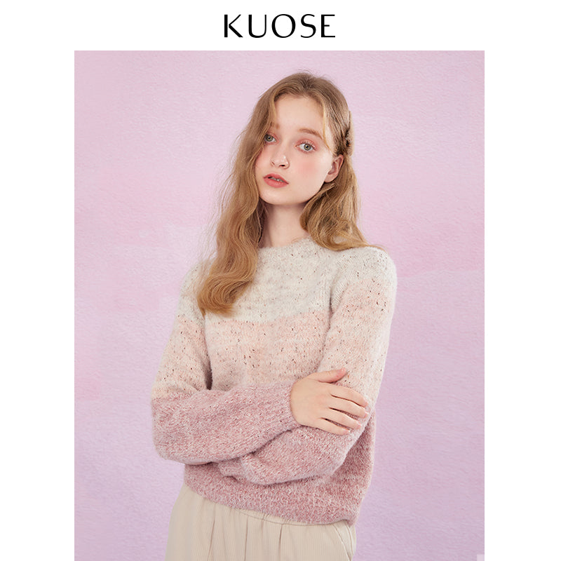 KUOSE Loose Gradiented Knitted Sweater