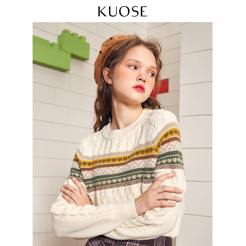 KUOSE Loose Cable Knitting  Wool Striped Sweater
