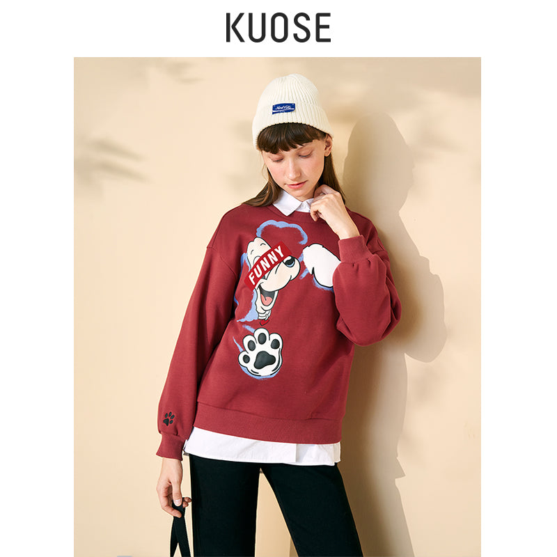 KUOSE Printed Embroidered Loose Sweater
