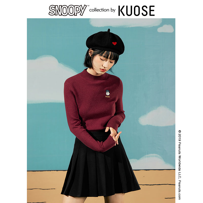 KUOSE Fashion Half-high Neck Embroidered Solid Top