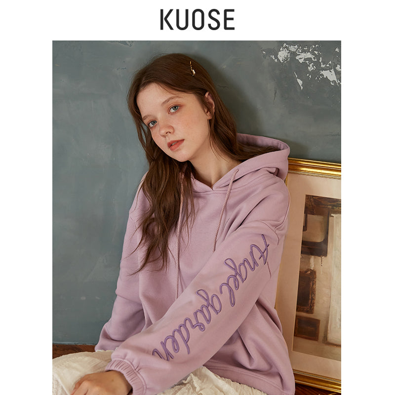 KUOSE Solid Color Hooded Loose Sweatshirt