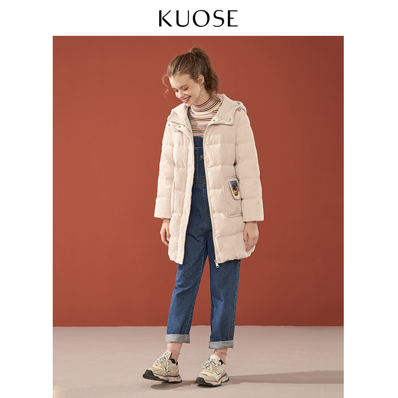 KUOSE Cartoon Printed Corduroy Hooded Jacket