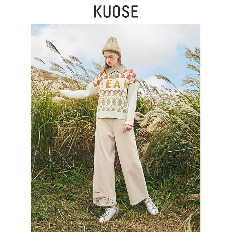 KUOSE Woolen Loose Casual Ankle-length Pants