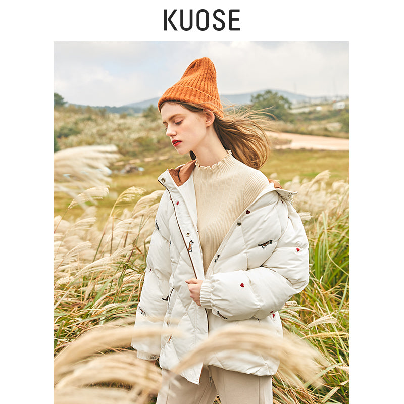 KUOSE Kitty-Embroidered Hooded  Cotton Coat