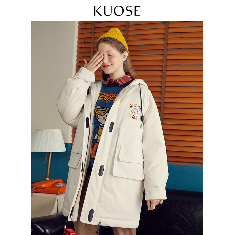 KUOSE Solid Color Printed Loose Hooded Jacket