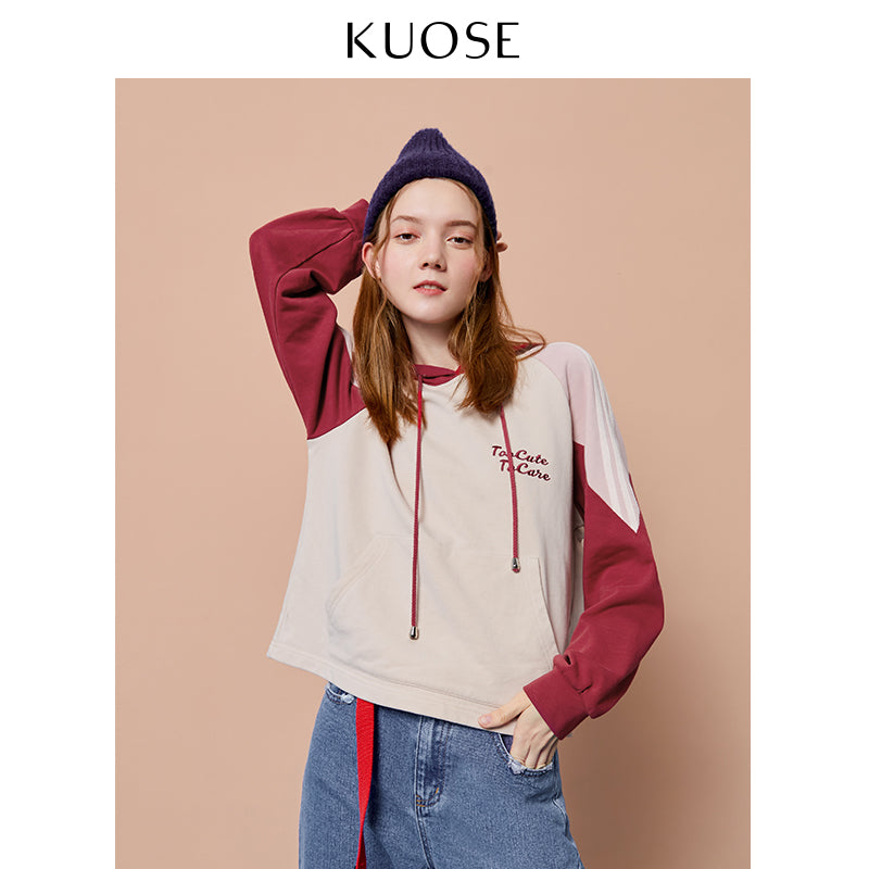 KUOSE Embroidered Color Matching student Sweatshirt