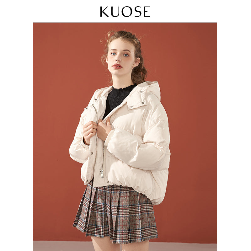 KUOSE Winter Solid Color Loose Cotton Hooed Coat
