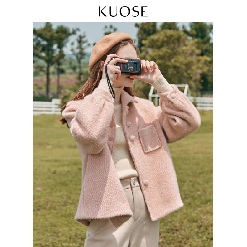 KUOSE Soild Color Casual Loose Plush Woolen Coat