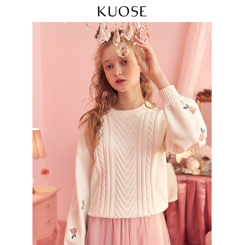 KUOSE Embroidered Loose Sweater