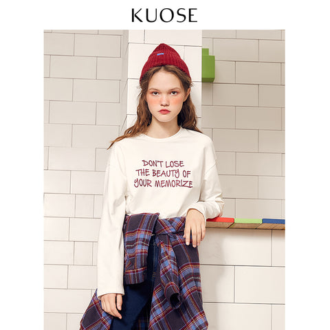 KOUSE Loose Long-Sleeved Student White T-shirt