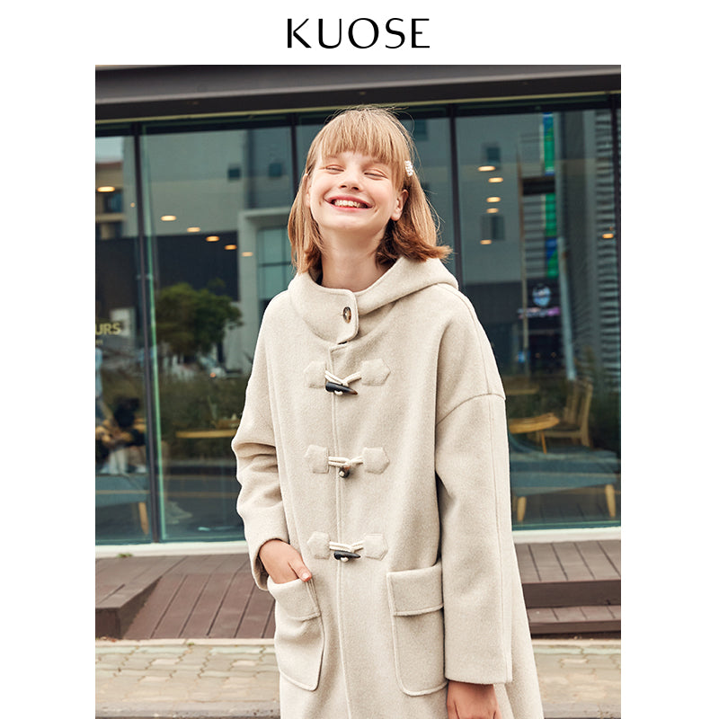 KUOSE Horn Buckle Casual Woolen Coat
