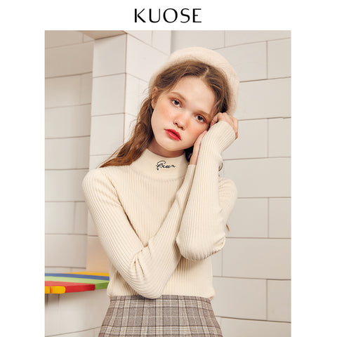 KUOSE Solid Color Embroidered Knitted Top