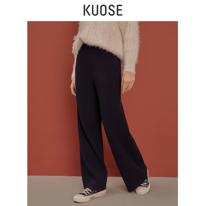 KUOSE High-waist Knitted Wide-leg Pants