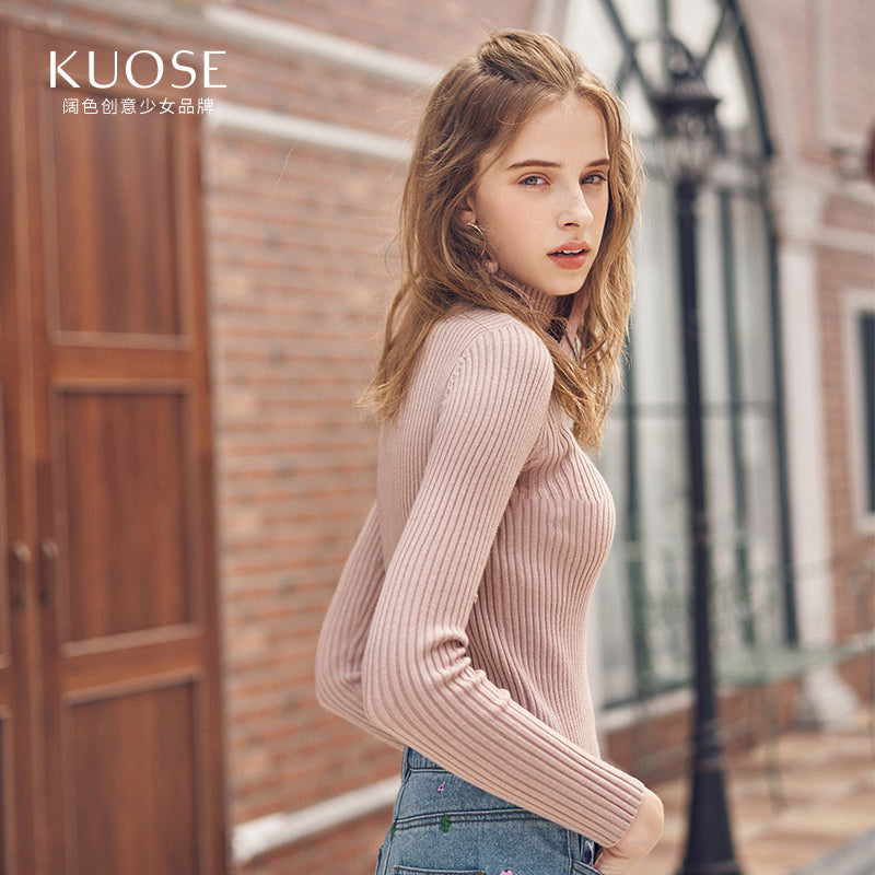 KUOSE Solid Color Turtleneck Knit Top