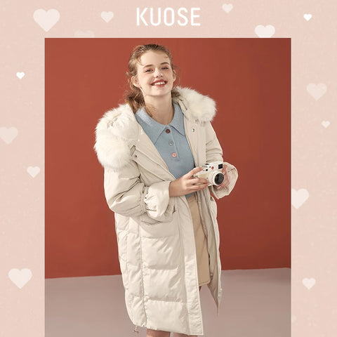 KUOSE Fashion Girl's Solid Color Loose Fur Collar Coat