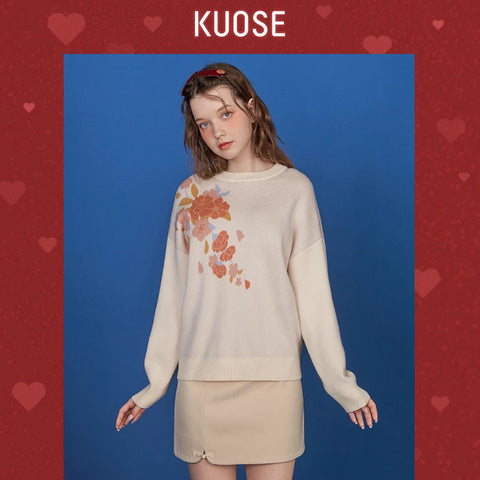 KUOSE Floral Printed Round Neck Sweater