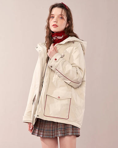 KUOSE Autumn And Winter Printed Hooded Coat