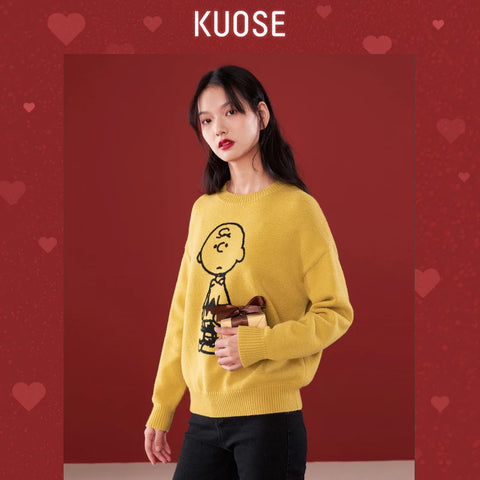KUOSE Round Neck Loose Wool Sweater