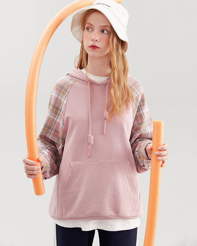 KUOSE Loose Plaid Paneled Sweatshirt