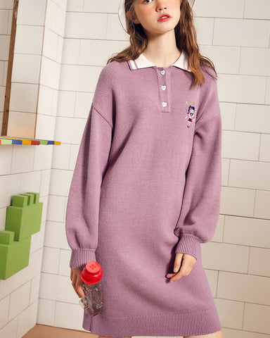 KUOSE Casual Loose Knitted Embroidered Dresses