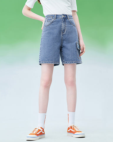 2020 spring new denim shorts female Korean version of straight straight high waist was thin A word shorts