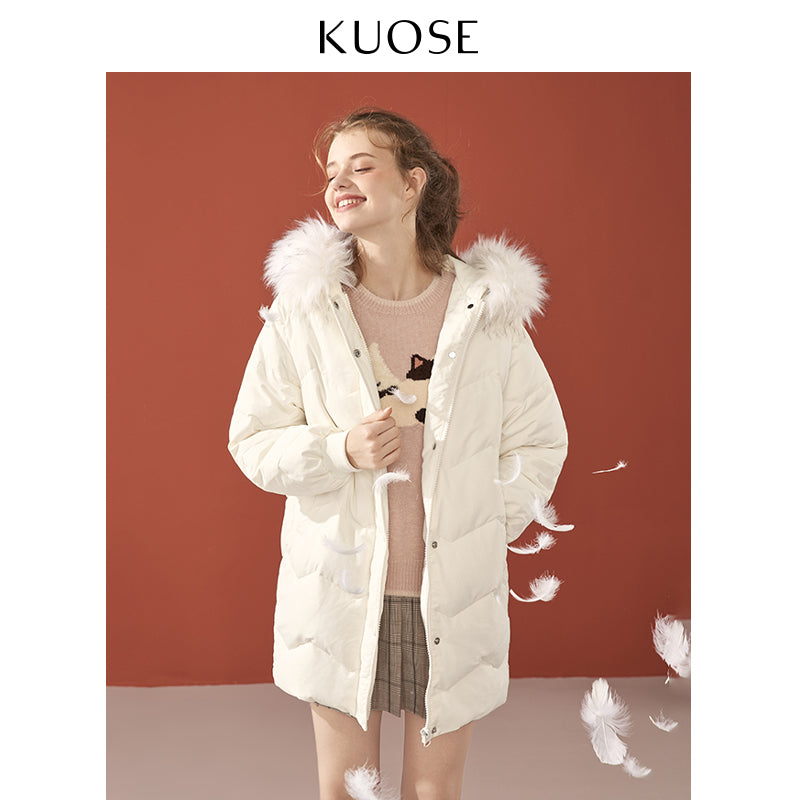 KUOSE Fashion Girl's Solid Color Fur Collar Coat