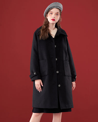 KUOSE Solid Color Button Long Woolen Coat