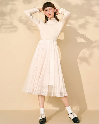 KUOSE False-Two Long Sleeve Knitted Lace Dresses
