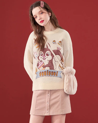 KUOSE Embroidered Loose Long Sleeve Sweater