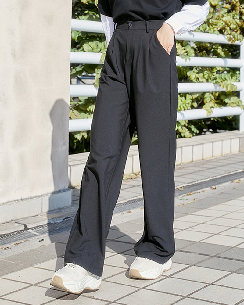 2020 Spring New Korean Wide Leg Pants Women's Straight High Waist Black Suit Pants Casual Pants