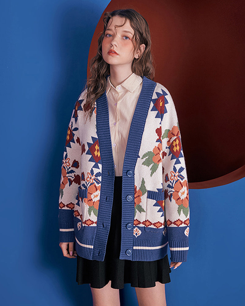 KUOSE Vintage Floral Print Button Cardigan