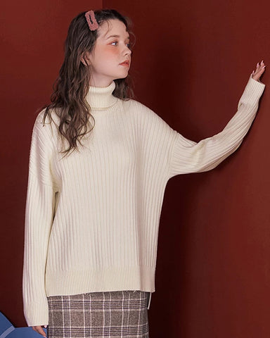 KUOSE Solid Color High-necked Sweater