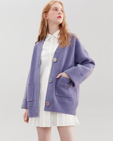 KUOSE Loose Solid Button Knit Cardigan