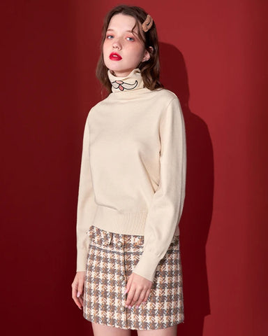 KUOSE Embroidered High Collar Solid Sweater