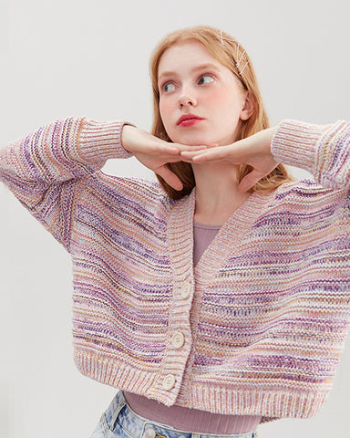 KUOSE Colorful Loose Knitted Cardigan