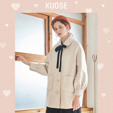 KUOSE Solid Color Bow Tie Lantern Sleeve Coat