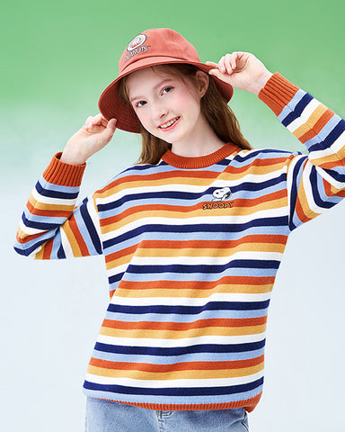 KUOSE Comic Embroidery Rainbow Striped Sweater