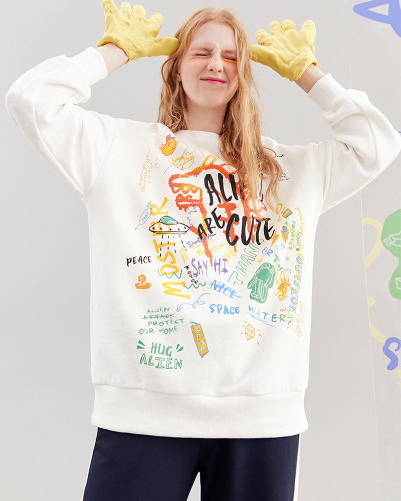 KUOSE Spring Graffiti Printted Sweatshirt